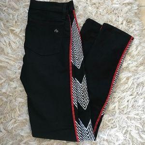 Rag Bone Embroidered Red White Stitch Chevron Jean